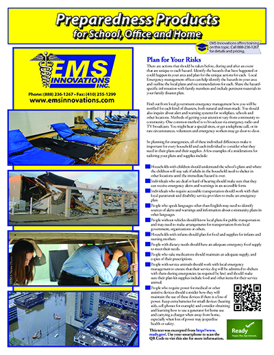 EMS Preparedness Products for School, Office and Home